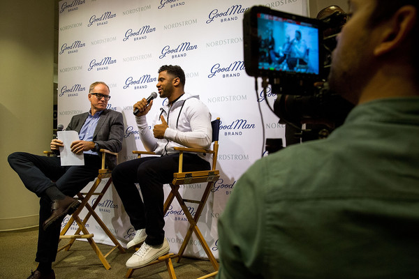 Russell Wilson Launches Good Man Brand at Nordstrom [nordstrom,russell wilson launches good man brand,seattle seahawks,yellow,event,design,technology,adaptation,convention,collaboration,conversation,media,world,seattle,washington,russell wilson,co-president,nordstrom pete nordstrom]