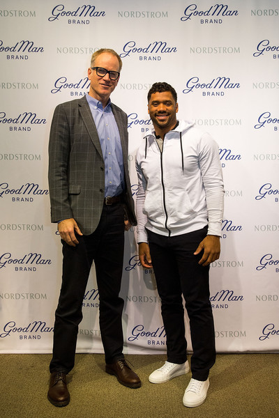 Russell Wilson Launches Good Man Brand at Nordstrom [fashion,event,suit,business,white-collar worker,fashion design,russell wilson,co-president,nordstrom pete nordstrom,seattle,washington,nordstrom,russell wilson launches good man brand,seattle seahawks]