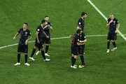 Croatia players celebrate following their sides victory in the 2018 FIFA World Cup Russia Quarter Final match between Russia and Croatia at Fisht Stadium on July 7, 2018 in Sochi, Russia.