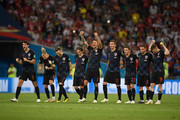 Croatia players look on from the half way line during the penalty shoot out during the 2018 FIFA World Cup Russia Quarter Final match between Russia and Croatia at Fisht Stadium on July 7, 2018 in Sochi, Russia.