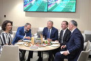 Moldova's President Igor Dodon, Russia's Prime Minister Dmitry Medvedev, Kazakhstan's President Nursultan Nazarbayev, Armenia's Prime Minister Nikol Pashinyn and his wife Anna Akopyan (R-L) during the opening ceremony prior to the 2018 FIFA World Cup Russia Group A match between Russia and Saudi Arabia at Luzhniki Stadium on June 14, 2018 in Moscow, Russia.
