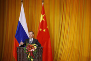 Russian Prime Minister Dmitry Medvedev speaks during the closing ceremony of a China-Russia media cooperation program at the Great Hall of the People on November 1, 2017 in Beijing, China. Medvedev is on an official three-day visit to China.