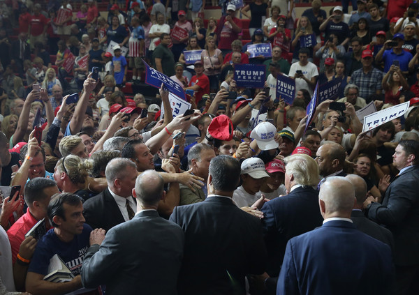 Trump Supporters at a Pennsylvania High School Rally via John Moore/Getty Images