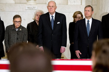 Ruth Bader Ginsburg Antonin Scalia's Body Lies In Repose In Great Hall of U.S. Supreme Court
