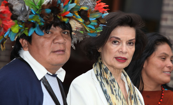 Ruth Buendia Mestoquiari (L-R) Chief Almir Narayamoga Surui, Leader of the Surui Tribe of the Madeira River Basin of Brazil, Bianca Jagger, Founding Patron of the Bianca Jagger Human Rights Foundation and patron of the Amazon Charitable Trust and Ruth Buendia Mestoquiari, President of Central Ashaninka Del Rio Ene (CARE) of Peru attend photocall to highlight the threat of hyrdo-power schemes in Latin America at the Amnesty International office on March 1, 2011 in London, England.