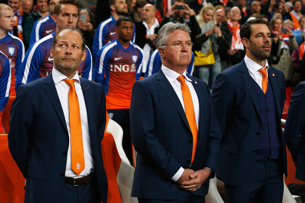 Netherlands v Turkey - EURO 2016 Qualifier [event,team,official,gesture,competition event,uniform,head coach,assistants,guus hiddink,ruud van nistelrooy,danny blind,qualifier,turkey,amsterdam arena,netherlands,l]