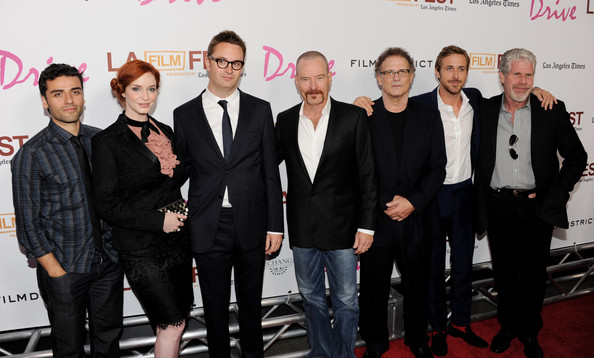 "Ryan Gosling (L-R) Actors Oscar Issac, Christina Hendricks, director Nicolas Winding Refn, actors Bryan Cranston, Albert Brooks, Ryan Gosling and Ron Perlman arrive at the Los Angeles Film Festival's special screening of ""Drive"" at the L.A. Live Regal Cinemas on June 17, 2011 in Los Angeles, California."