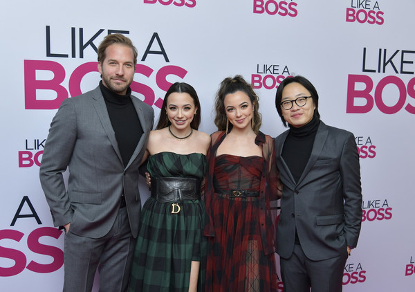 World Premiere Of 'Like A Boss' At SVA Theatre In New York City [like a boss,like a boss world premiere,premiere,event,fashion,carpet,dress,red carpet,award,flooring,fashion design,veronica merrell,ryan hansen,jimmy o. yang,l-r,sva theatre,new york city,paramount pictures,world premiere,veronica merrell,jimmy o. yang,sva theatre,like a boss,red carpet,ryan hansen,stock photography,merrell twins,photograph,premiere]