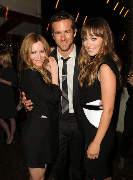 (L-R) Actors Leslie Mann, Ryan Reynolds, and Olivia Wilde attend the Details Magazine/ Ryan Reynolds Party held at Dominick's Restaurant on June 6, 2011 in Los Angeles, California.