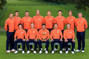 The European Team, back row L-R: Sergio Garcia, Martin Kaymer, Lee Westwood, Peter Hanson, Ian Poulter, Justin Rose, Nicolas Colsaerts, Paul Lawrie, fron row L-R: Rory McIlroy, Luke Donald, Jose Maria Olazabal (captain), Graeme McDowell, Francesco Moilinari pose for an official photograph during the second preview day of The 39th Ryder Cup at Medinah Country Golf Club on September 25, 2012 in Medinah, Illinois.