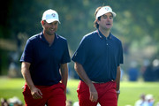 Webb Simpson and Bubba Watson of the USA walk to the green during the third preview day of The 39th Ryder Cup at Medinah Country Golf Club on September 26, 2012 in Medinah, Illinois.