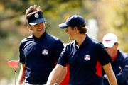 Bubba Watson (L) and Webb Simpson of the USA walk together during a practice round during the fourth preview day of The 39th Ryder Cup at Medinah Country Club on September 27, 2012 in Medinah, Illinois.