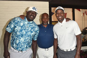 Byron Chamberlain, Chris Spencer and Flex Alexander ttend the SAG-AFTRA Foundation 10 Annual L.A. Golf Classic at Lakeside Golf Club on June 10, 2019 in Burbank, California.