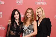 (L-R) Courteney Cox, winner of the 'Artists Inspiration Award' Jennifer Aniston and Lisa Kudrow attend SAG-AFTRA Foundation's 4th Annual Patron of the Artists Awards at Wallis Annenberg Center for the Performing Arts on November 07, 2019 in Beverly Hills, California.