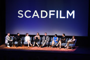 "(L-R) Eric Wilson, Ane Crabtree, Sydney Sweeney, Ever Carradine, Robert Curtis Brown, Nina Kiri, Amanda Brugel, and Madeline Brewer speak at SCAD FASH premiere of ""The Handmaid's Tale"" Exhibition at SCADshow on April 30, 2018 in Atlanta, Georgia."