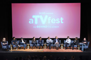 "Writer Torrey Speer, Writer Philip Buiser, Writer Scott Kosar, Writer Erica Lipez, Writer Alyson Evans, Writer Steve Kornacki, Executive Producer Carlton Cuse, .Actor and Writer Freddie Highmore, Executive Producer Kerry Ehrin, and Executive Editor Eric Goldman speak at the ""Bates Motel"" event during aTVfest 2016 presented by SCAD on February 6, 2016 in Atlanta, Georgia."