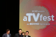 """Spotlight Cast Award Recipients for """"Gotham"""" (L-R)  actors Nathan Darrow, Cory Michael Smith, Camren Bicondova and Robin Lord Taylor accept their award at Spotlight Cast Award presentations during aTVfest 2016 presented by SCAD on February 5, 2016 in Atlanta, Georgia."""