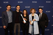 """Spotlight Cast Award Recipients for """"Gotham"""" actors Nathan Darrow, Cory Michael Smith, Camren Bicondova and Robin Lord Taylor pose together with Icon award recipient actress Lili Taylor (C) during Icon and Spotlight Cast Award presentations during aTVfest 2016 presented by SCAD on February 5, 2016 in Atlanta, Georgia."""