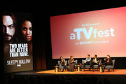"""Actors (L-R) Jessica Camacho, Nikki Reed, Zach Appelman, Lyndie Greenwood and moderator Kim Root speak during the """"Sleepy Hollow"""" event during aTVfest  2016 presented by SCAD on February 6, 2016 in Atlanta, Georgia."""