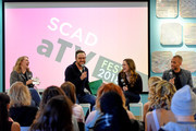 Samantha Highfill, David Rappaport, Danielle Panabaker, and Kendrick Sampson speak at a panel on Day 3 of the SCAD aTVfest 2018 on February 3, 2018 in Atlanta, Georgia.