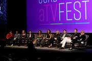 "(L-R) Mark L. Young, Benjamin Levy Aguilar,Olivia Macklin, Corey Cott, Aubrey Dollar, Melia Kreiling ,Kim Cattrall, Tate Taylor and John Norris speak onstage at the SCAD aTVfest 2020 - ""Filthy Rich"" With Kim Cattrall Icon Award Presentation on February 27, 2020 in Atlanta, Georgia."