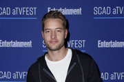 Justin Hartley attends the SCAD aTVfest x Entertainment Weekly Party - Elevate At W Atlanta Midtown at Elevate at W Atlanta Midtown on February 29, 2020 in Atlanta, Georgia.