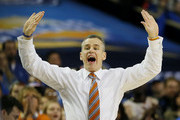 Head coach Billy Donovan of the Florida Gators reacts in the first half against the Kentucky Wildcats during the Championship game of the 2014 Men's SEC Basketball Tournament at Georgia Dome on March 16, 2014 in Atlanta, Georgia.