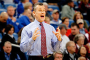 Head coach Billy Donovan of the Florida Gators reacts against the Alabama Crimson Tide during their quarterfinal game in the 2012 SEC Men's Basketball Conference Tournament at New Orleans Arena on March 9, 2012 in New Orleans, Louisiana.