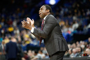 Avery Johnson the head coach of the Alabama Crimson Tide gives instructions to his team against the Texas A&M Aggies during the second round of the 2018 SEC Basketball Tournament at Scottrade Center on March 8, 2018 in St Louis, Missouri.