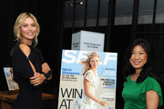 Editor-in-Chief of SELF Joyce Chang (R) and Maria Sharapova pose at a Q&A about being a SELF Made woman hosted by SELF Magazine September cover star Maria Sharapova and Editor-in-Chief Joyce Chang on August 18, 2014 in New York City.