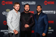 (L-R) Actors Max Thieriot, A. J. Buckley and Neil Brown Jr. attend the Showtime, WME IME and Mayweather Promotions VIP Pre-Fight party for Mayweather vs. McGregor at T-Mobile Arena on August 26, 2017 in Las Vegas, Nevada.