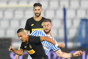 Alexis Sanchez of FC Internazionale competes for the ball with Alberto Cerri of SPAL during the Serie A match between SPAL and FC Internazionale at Stadio Paolo Mazza on July 16, 2020 in Ferrara, Italy.