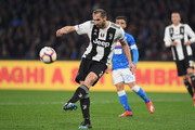 Giorgio Chiellini of Juventus in action during the Serie A match between SSC Napoli and Juventus at Stadio San Paolo on March 3, 2019 in Naples, Italy.