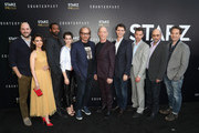 """(L-R) Executive producer Jordan Horowitz, actors Nazanin Boniadi, Nicholas Pinnock, Sara Serraiocco, Executive producer/director Morten Tyldum, actors J. K. Simmons, Harry Lloyd, Creator/writer/executive producer Justin Marks, actor Richard Schiff and Composer Jeff Russo of """"Counterpart"""" attend the STARZ """"Counterpart"""" & """"Howards End"""" FYC Event at LACMA on May 23, 2018 in Los Angeles, California."""
