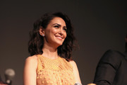 """Actor Nazanin Boniadi speaks onstage during the STARZ """"Counterpart"""" & """"Howards End"""" FYC Event at LACMA on May 23, 2018 in Los Angeles, California."""