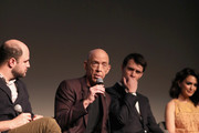 """(L-R) Executive producer Jordan Horowitz, actors J. K. Simmons, Harry Lloyd and Nazanin Boniadi speak onstage during the STARZ """"Counterpart"""" & """"Howards End"""" FYC Event at LACMA on May 23, 2018 in Los Angeles, California."""