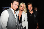 """Wrestler Michael Gregory """"Mike"""" Mizanin, Maryse Ouellet and singer Ryan Cabrera attends the STK Los Angeles 6th Anniversary Party at STK on June 4, 2014 in Los Angeles, California."""