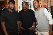 """(L-R) Usher Raymond, F. Gary Gray, and Ludacis attend """"Straight Outta Compton"""" VIP screening with director/producer F. Gary Gray, producer Ice Cube, executive producer Will Packer and cast members at Regal Atlantic Station on July 24, 2015 in Atlanta, Georgia."""