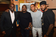"""(L-R) Atlanta mayor Kasim Reed, director F. Gary Gray, rapper Ludacris, and recording artist Usher Raymond attend """"Straight Outta Compton"""" VIP screening with director/producer F. Gary Gray, producer Ice Cube, executive producer Will Packer and cast members at Regal Atlantic Station on July 24, 2015 in Atlanta, Georgia."""
