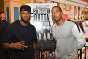 """Recording artist Usher Raymond and rapper Ludacris attend """"Straight Outta Compton"""" VIP screening with director/producer F. Gary Gray, producer Ice Cube, executive producer Will Packer and cast members at Regal Atlantic Station on July 24, 2015 in Atlanta, Georgia."""