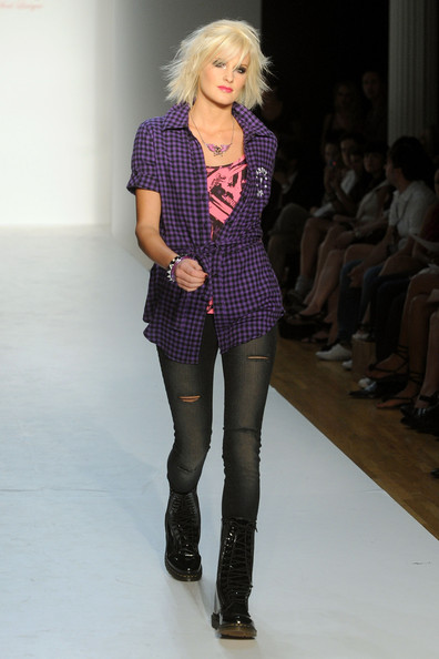 A model walks the runway at STYLE360's presentation of Abbey Dawn Spring 2010 at the Metropolitan Pavilion on September 14, 2009 in New York City.