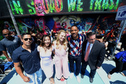 (L-R) Actor Jay Hernandez, actress Karen Fukuhara, actress Margot Robbie, actor Will Smith, and city of Miami commissioner Frank Carollo attend the 'Suicide Squad' Wynwood Block Party and Mural Reveal on July 25, 2016 in Miami, Florida.