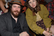Actor John Gallagher (L) and actress Kate Lyn Sheil pose in the audience during the 2014 SXSW Film Awards at the Paramount Theatre on March 11, 2014 in Austin, Texas.