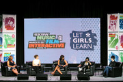 (L-R) Queen Latifah, Sophia Bush, First Lady of the United States Michelle Obama, Missy Elliot and Diane Warren speak onstage at SXSW Keynote: Michelle Obama during the 2016 SXSW Music, Film + Interactive Festival at Austin Convention Center on March 16, 2016 in Austin, Texas.