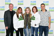 "Sabrina Carpenter (C) poses with (L-R) Elvis Duran, Medha Gandhi,  Danielle Monaro, and Skeery Jones during her visit to ""The Elvis Duran Z100 Morning Show"" at Z100 Studio on March 12, 2019 in New York City."