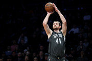 Tyler Zeller #44 of the Brooklyn Nets takes a shot against the Sacramento Kings in the first quarter during their game at Barclays Center on December 20, 2017 in the Brooklyn Borough of New York City.  NOTE TO USER: User expressly acknowledges and agrees that, by downloading and or using this photograph, User is consenting to the terms and conditions of the Getty Images License Agreement.