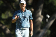 Danny Lee of New Zealand reacts to his birdie putt on the 13th hole during the final round of the Safeway Open at the North Course of the Silverado Resort and Spa on October 7, 2018 in Napa, California.
