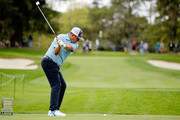 Jason Dufner plays his shot from the second tee during round one of the Safeway Open at the North Course of the Silverado Resort and Spa on October 4, 2018 in Napa, California.