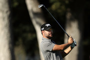Ryan Moore plays his shot on the 10th hole during the second round of the Safeway Open at the North Course of the Silverado Resort and Spa on October 5, 2018 in Napa, California.