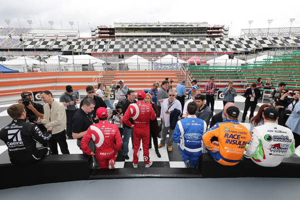 Rolex 24 Practice and Qualifying [sport venue,team,product,stadium,race track,race car,vehicle,fan,competition event,car,team drivers,sage karam,scott dixon,kyle larson,joey hand,practice,media,rolex 24,chip ganassi racing with felix sabates,qualifying]